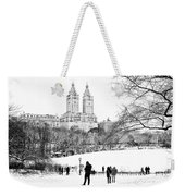 Central Park Snow Lakeside Weekender Tote Bag