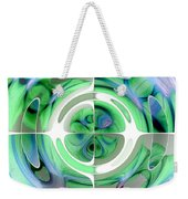 Cerulean Blue And Jade Abstract Collage Weekender Tote Bag
