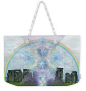 Chalice Over Stonehenge In Flower Of Life Weekender Tote Bag