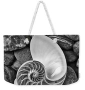 Chambered Nautilus Shell  On River Stones Weekender Tote Bag