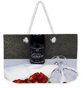 Champagne Bottle With Strawberry Tarts And 2 Glasses Weekender Tote Bag
