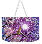 Champagne Tabby Cat In Cherry Blossoms Weekender Tote Bag