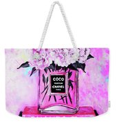 Chanel Perfume With Peony Weekender Tote Bag