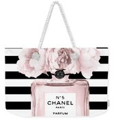 Chanel N.5, Black And White Stripes Weekender Tote Bag