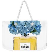Chanel Perfume Nr 5 With Blue Hydragenias  Weekender Tote Bag