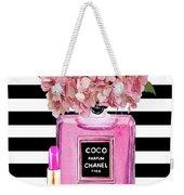 Chanel Poster Pink Perfume Hydrangea Print Weekender Tote Bag