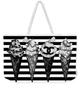 Chanel Print, Ice Cream On Stripes Weekender Tote Bag