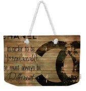 Chanel Wood Panel Rustic Quote Weekender Tote Bag