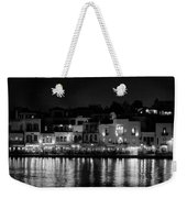 Chania By Night In Bw Weekender Tote Bag