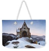 Chapel On A Mountain In Winter Weekender Tote Bag