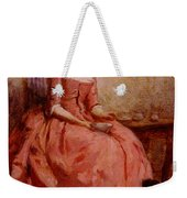 Chaplin Charles Girl In A Pink Dress Reading With A Dog Weekender Tote Bag