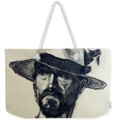 Charcoal Portrait Of A Man Wearing A Summer Hat Weekender Tote Bag
