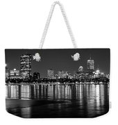Charles River Boston Ma Prudential Lit Up Not Done New England Patriots Black And White Weekender Tote Bag