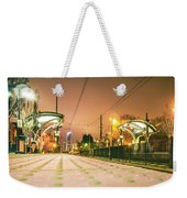 Charlotte City Skyline Night Scene With Light Rail System Lynx T Weekender Tote Bag
