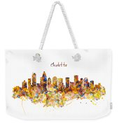 Charlotte Watercolor Skyline Weekender Tote Bag