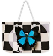 Checker Plate And Blue Butterfly Weekender Tote Bag