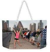 Cheerful Attractive Female Austinite Waves Her Hands With Excitement On Seeing The Austin Bats Weekender Tote Bag
