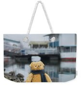 Cheerful Teddy Bear In Knitted Scarf Stand By The Riverside Beside The Port Weekender Tote Bag