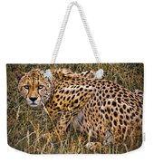 Cheetah In The Grass Weekender Tote Bag