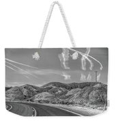 Chem Trails Over Valley Of Fire Black White  Weekender Tote Bag