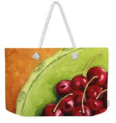 Cherries Green Plate Weekender Tote Bag