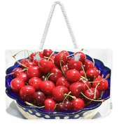 Cherries In Blue Bowl Weekender Tote Bag