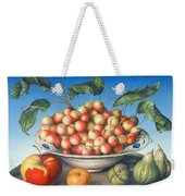 Cherries In Delft Bowl With Red And Yellow Apple Weekender Tote Bag
