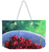 Cherries On A Blue Plate Weekender Tote Bag