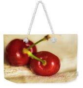 Cherries On White Weekender Tote Bag