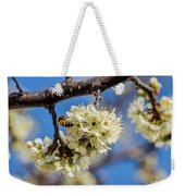 Pear Blossom And Bee Weekender Tote Bag