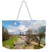Cherry Blossom Trees At Portland Waterfront Weekender Tote Bag