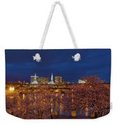 Cherry Blossom Trees At Portland Waterfront During Blue Hour Weekender Tote Bag