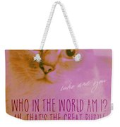Cheshire Cat Quote Weekender Tote Bag