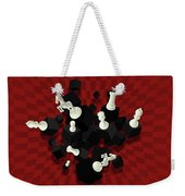 Chessboard And 3d Chess Pieces Composition On Red Weekender Tote Bag