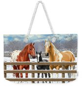 Chestnut Appaloosa Palomino Pinto Black Foal Horses In Snow Weekender Tote Bag by Crista Forest