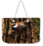 Chestnut-backed Chickadee On Tree Trunk Weekender Tote Bag
