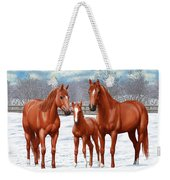 Chestnut Horses In Winter Pasture Weekender Tote Bag by Crista Forest