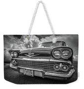 Chevrolet Biscayne 1958 In Black And White Weekender Tote Bag