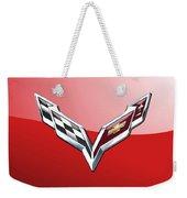 Chevrolet Corvette - 3d Badge On Red Weekender Tote Bag