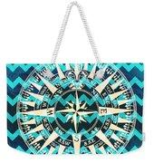 Chevron Print Compass Blue Weekender Tote Bag
