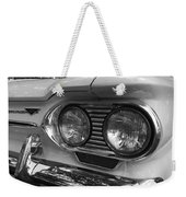Chevy Corvair Headights And Bumper Black And White Weekender Tote Bag