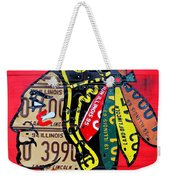 Chicago Blackhawks Hockey Team Vintage Logo Made From Old Recycled Illinois License Plates Red Weekender Tote Bag