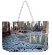 Chicago Downtown City  Night Photography Wrigley Square Weekender Tote Bag