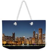 Chicago Downtown Skyline At Night Weekender Tote Bag