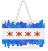 Chicago Flag Watercolor Weekender Tote Bag