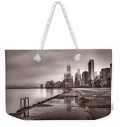 Chicago Foggy Lakefront Bw Weekender Tote Bag