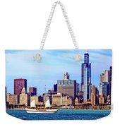 Chicago Il - Schooner Against Chicago Skyline Weekender Tote Bag