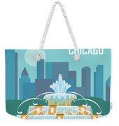 Chicago Illinois Horizontal Skyline - Buckingham Fountain Weekender Tote Bag
