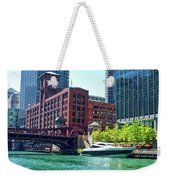 Chicago Parked By The Clark Street Bridge On The River Weekender Tote Bag