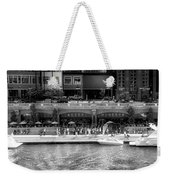 Chicago Parked On The River Walk Panorama 02 Bw Weekender Tote Bag